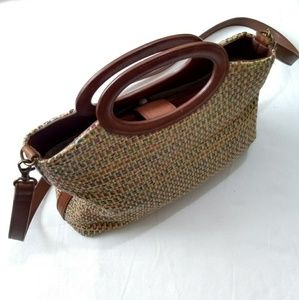 Vintage Fossil Tweed Basket Handbag with Strap